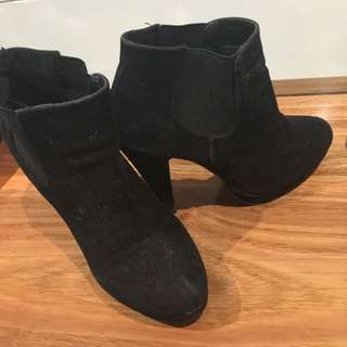 Black Ankle Suede Like Boots