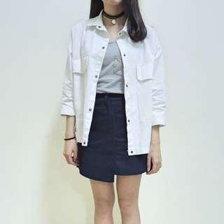 (現貨+預購)雙口袋 白色 襯衫外套