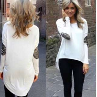 White Blouse Long Sleeve Elbow Detail