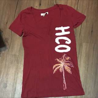 正品Hollister酒紅色v領上衣