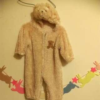 🚚 毛絨絨熊寶寶兔裝80-90