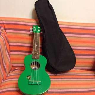 鮮綠色烏克麗麗附提袋
