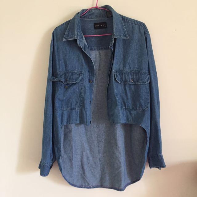 (售出)前短後長牛仔襯衫