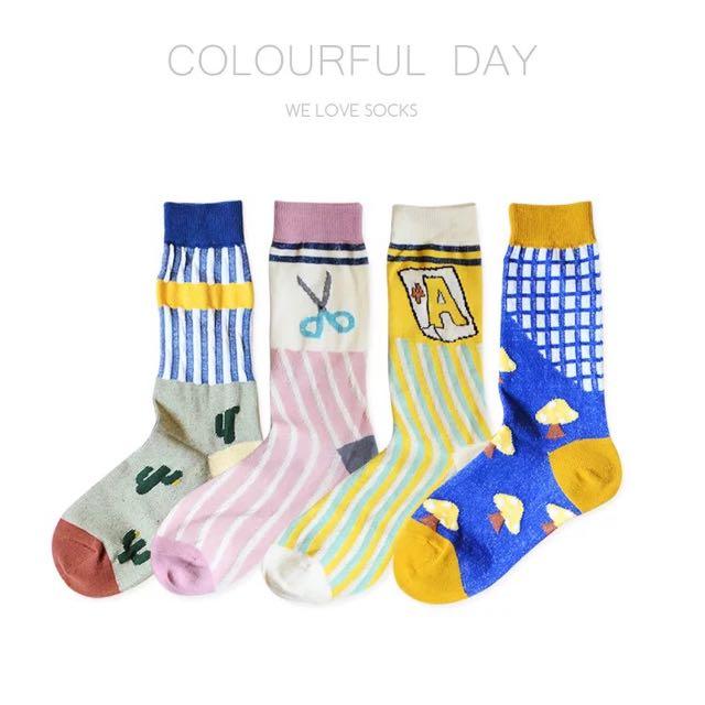 《兩雙免運》日系立體織紋不對稱中筒襪