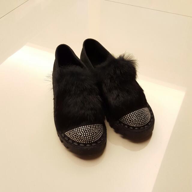 毛毛厚底鞋