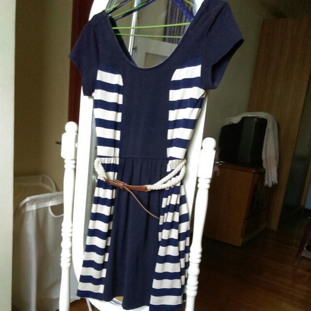英國品牌 Rare London 棉質海洋風 露背條紋傘狀洋裝 連身裙 附腰帶
