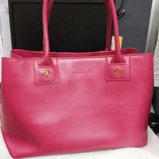 Agnes B桃紅手提包