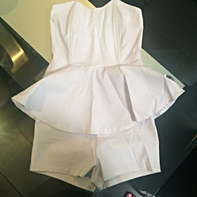 BNWT Blonde White Peplum Playsuit Size 6