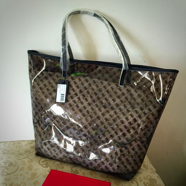 dd47cb323fa8 Pending)BNWT Guess Logo Clear Tote Large(BNIP)