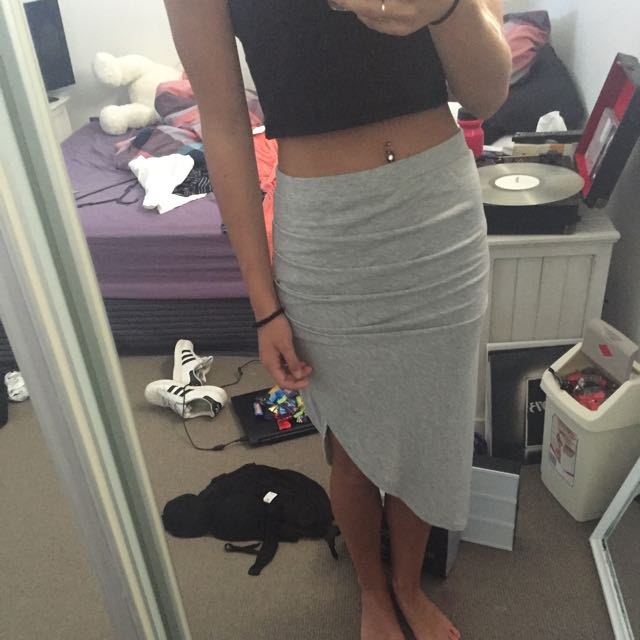 Grey Ruffled Skirt