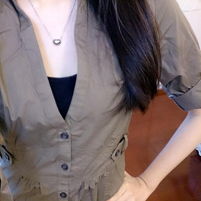 Mango@軍綠連身洋裝