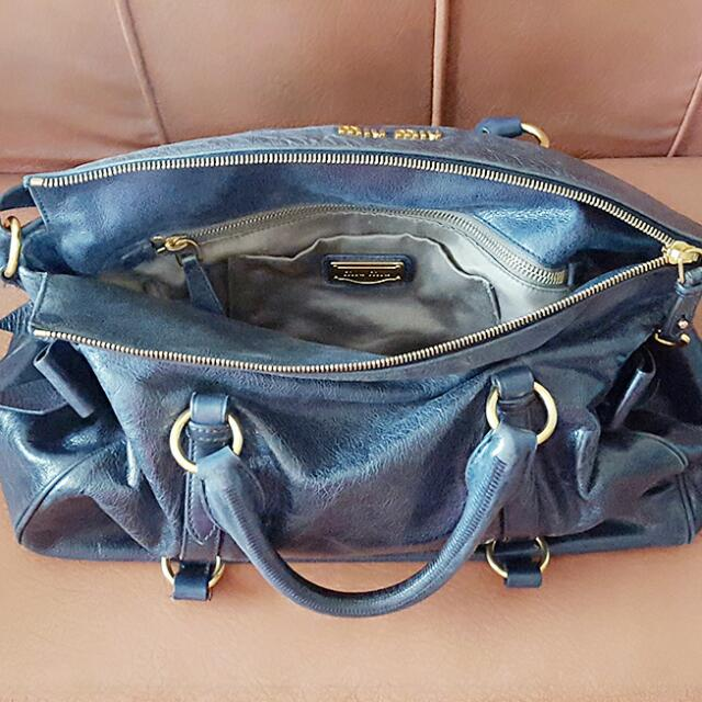 4c26825dbb37 Miu Miu Vitello Lux Bow Bag  Blue  -- Large