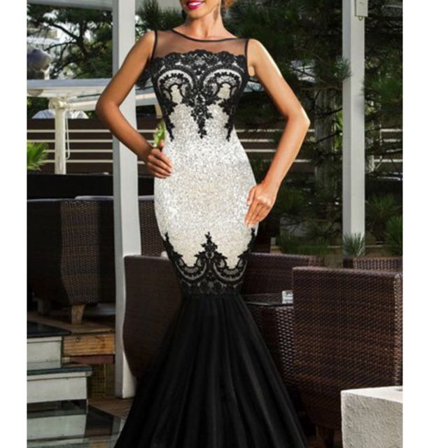 Noble Round Neck Sleeveless See-Through Sequined Fishtail Dress For Women