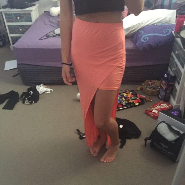 Peach Split Maxi Skirt