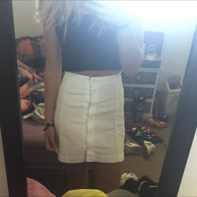 White Button Up High Waisted Skirt