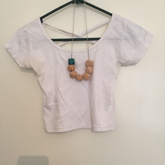White Crop Top/ Necklace