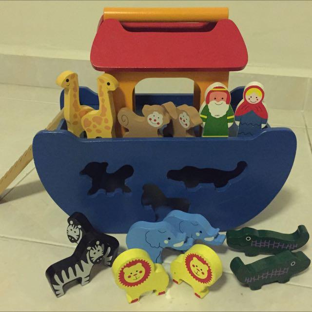 Sale Wooden Noahs Ark 12 Animals Noah Wife Shape Sorter