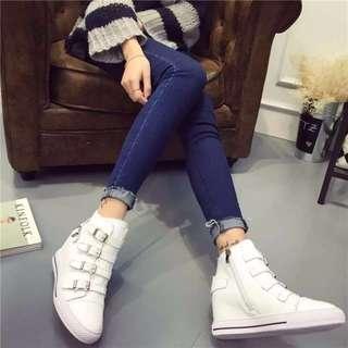 皮面 內增高帆布鞋版本的高跟鞋 布鞋休閒鞋 經典時尚白色  35 36 37 38 39(22 22.5 23 23.5 24 24.5 )