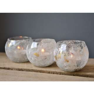 White & Gold Marbled Glass Tealight Candle Holder Votive Candle Wedding Decor