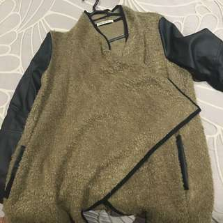 Brown Wooly, Leather Arm Jacket Size 12
