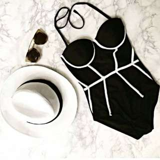 Black Triangle geometrical bikini swimsuit monokini Ready Stock