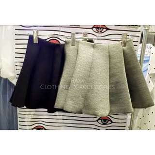 太空棉短裙 - 灰S
