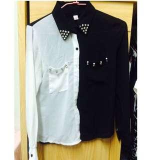 黑白拼接雪紡衫
