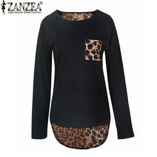 ✔(Sold) INSTOCK PLUS SIZE LADY LEOPARD CASUAL BLOUSE