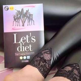 ✤韓國 Let's diet 2016蕾絲彈力皮褲✤