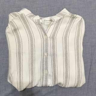 直條紋 立領 襯衫