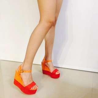 全新 撞色楔型鞋38