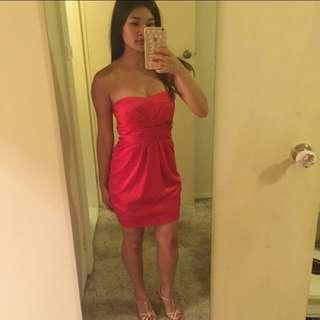 Strapless Pilgrim Red Silky Mini Dress Size 6
