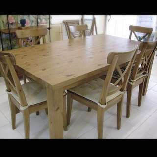 {{LAST CaLL}}Wooden Dining Table With Six Chairs