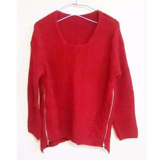 🚚 酒紅色麻花針織拉鍊毛衣