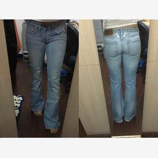 美國品牌 Earl Jeans 天使翅膀水鑽 淺色牛仔喇叭褲 25腰 美國製