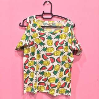 *preloved* tropical fruits shirt 🍍🍉