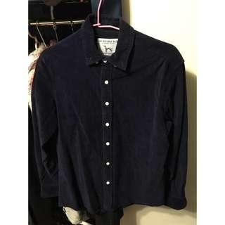 深藍色燈芯絨襯衫(韓)