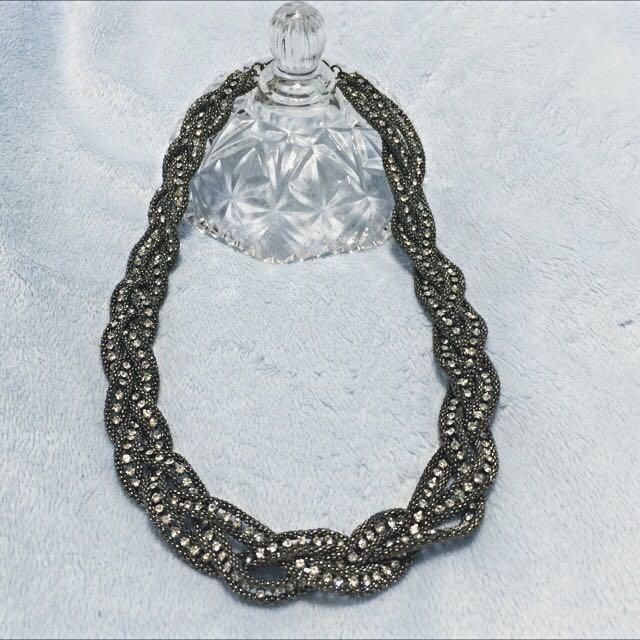 華麗鐵灰編織鑽項鏈喜宴宴客夜店