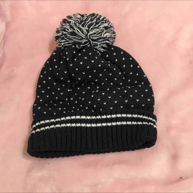 毛線帽(深藍色點點)