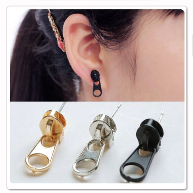 金屬拉鍊耳環😳特價