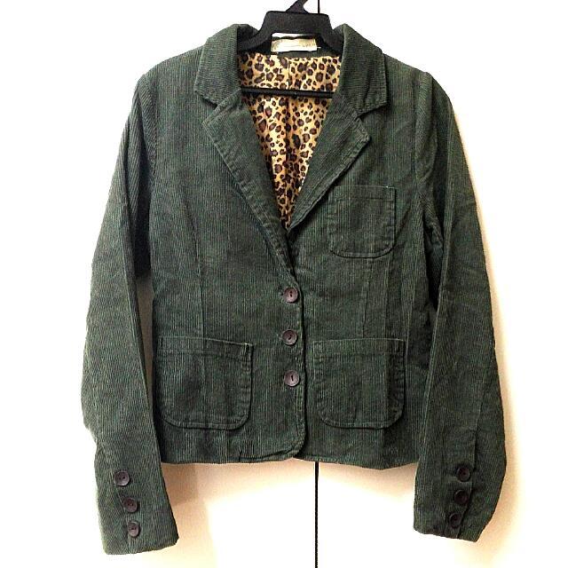 復古 綠色小短西裝外套