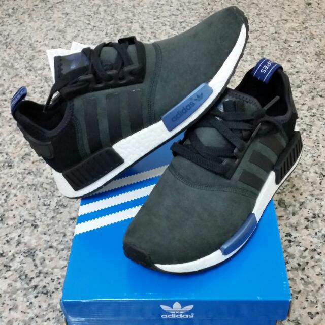 (暫售)只有一雙現貨在台,佛價出售~Adidas NMD R1 黑藍麂皮 台灣未發Us7.5=24.5cm