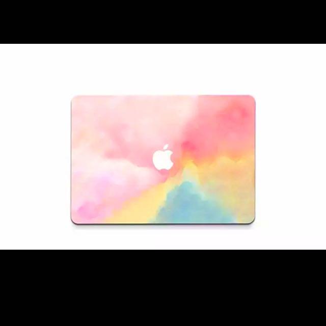 Apple Mac Air 筆電外殼保護膜貼  粉色系漸層風格  一組4張Mac air 13吋[全包版]