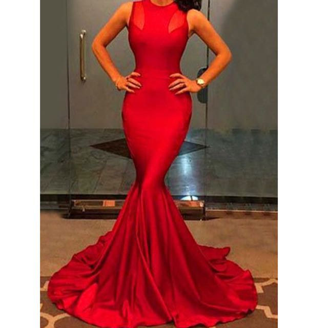 Elegant Jewl Neck Sleeveless Solid Color Bodycon Maxi Dress For Women