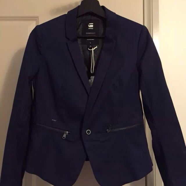 G-Star Women's Slim Fit Blazer In Blue - Size Small