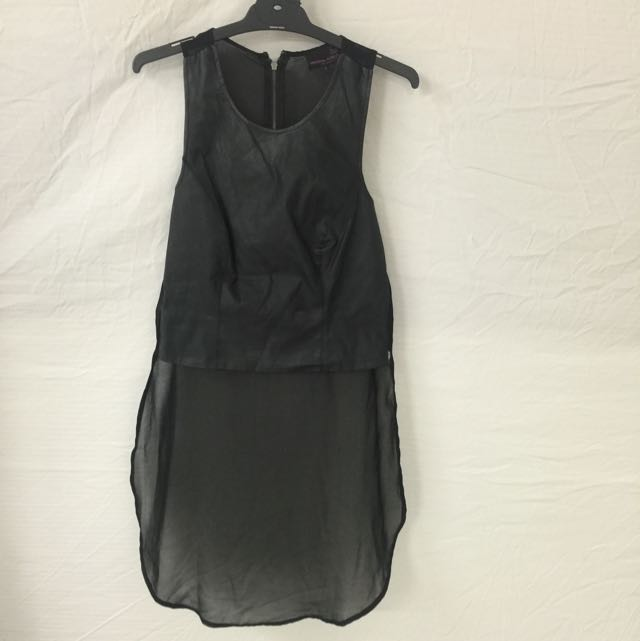 Leather Look Top, With Sheer Back