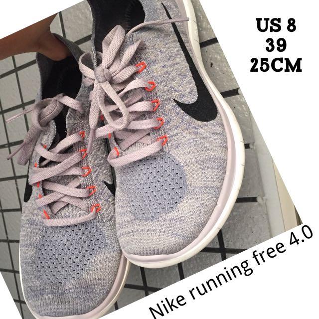 Nike Running Free4.0 Flyknit  灰白混色編織黑勾 慢跑 跑鞋 跑步