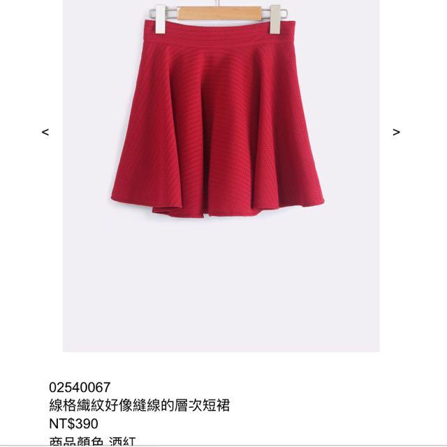 全新-轉賣orenda 酒紅色短裙