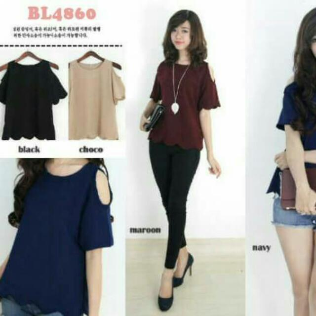 SCALLOP CUT OFF BLOUSE BL4860