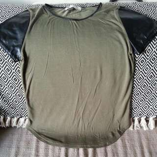 Khaki Green & Leather-like Sleeves. Size S